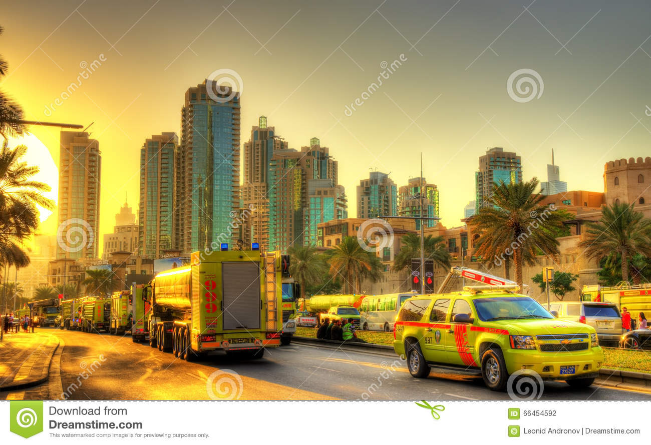 Fire And Rescue Services Near Burning Address Downtown Dubai