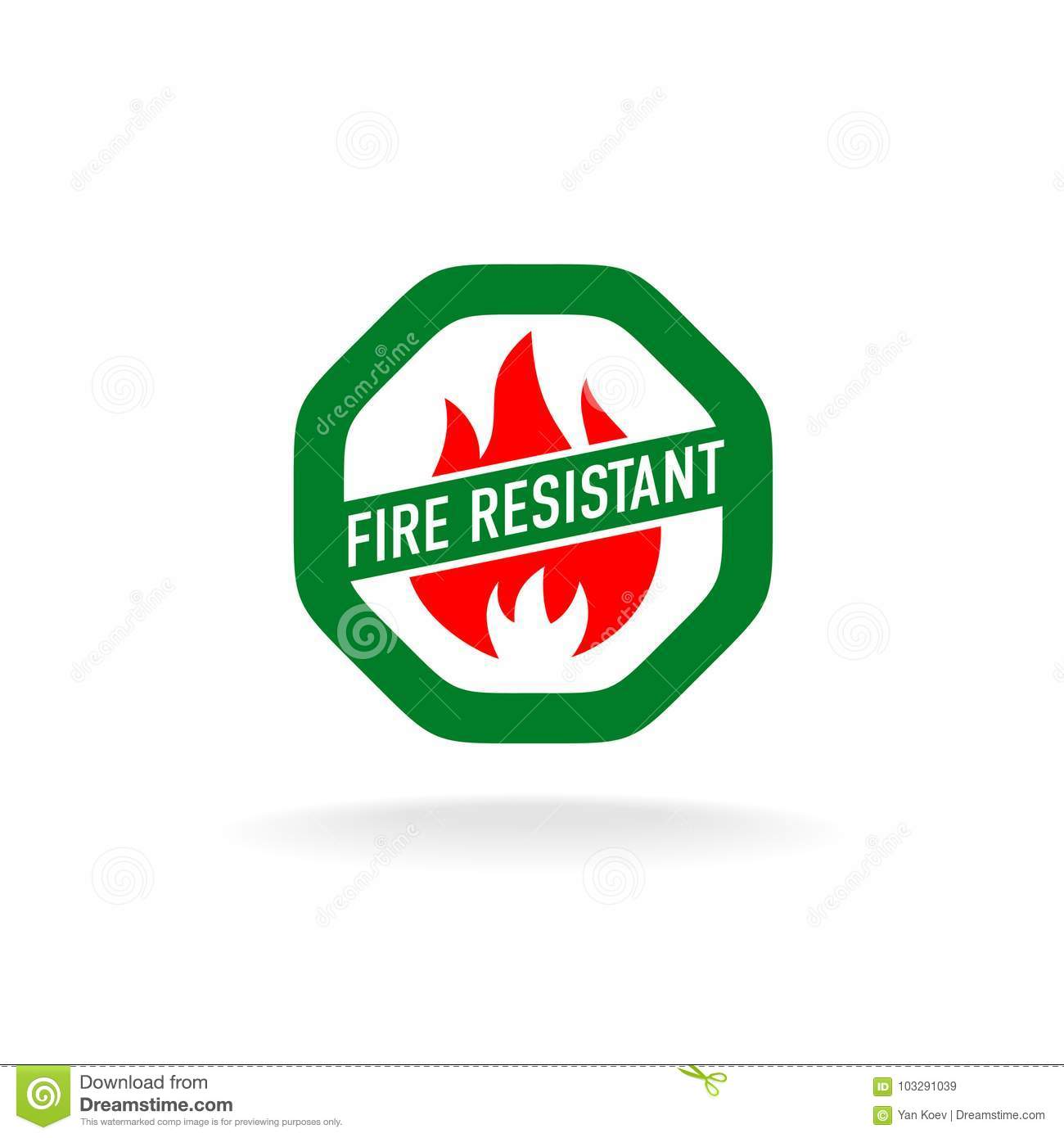 Fire Resistant Icon Stock Vector Illustration Of Property 103291039