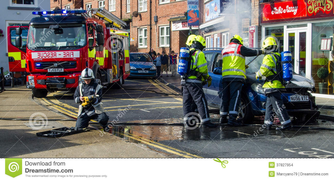 Fire Service Called To A Car Fire Editorial Stock Image
