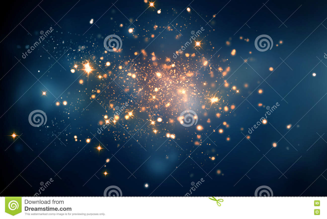Fire sparkles in dark blue bokeh background