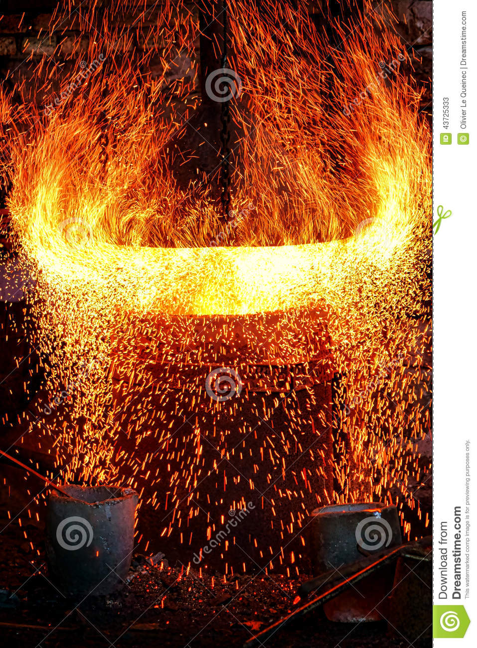 Fire Sparks And Blazing Flames In Blast Furnace Stock Photo Image 43725333