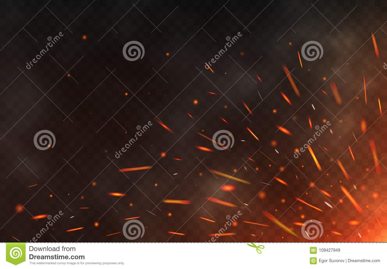 Fire sparks flying up on transparent background. Smoke and glowing particles on black. Realistic lighting sparks with