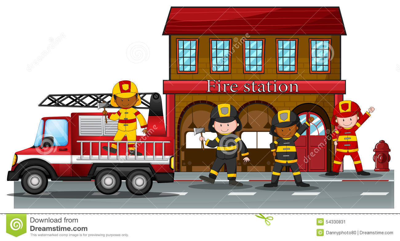 Fire Station Stock Vector Image 54330831