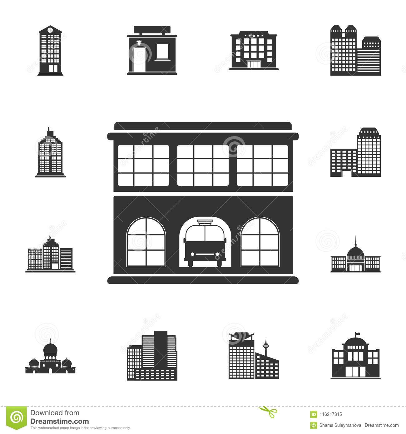 Fire station icon. Simple element illustration. Fire station symbol design from Buildings collection set. Can be used for web and