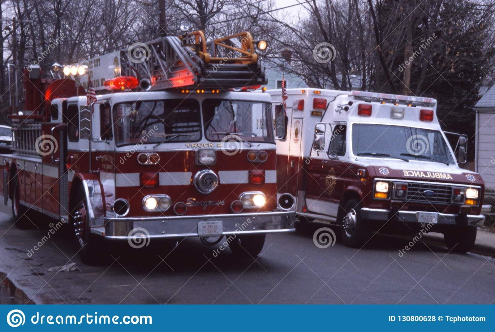 Fire Truck And Ambulance On A Emergency Call Editorial Stock Photo