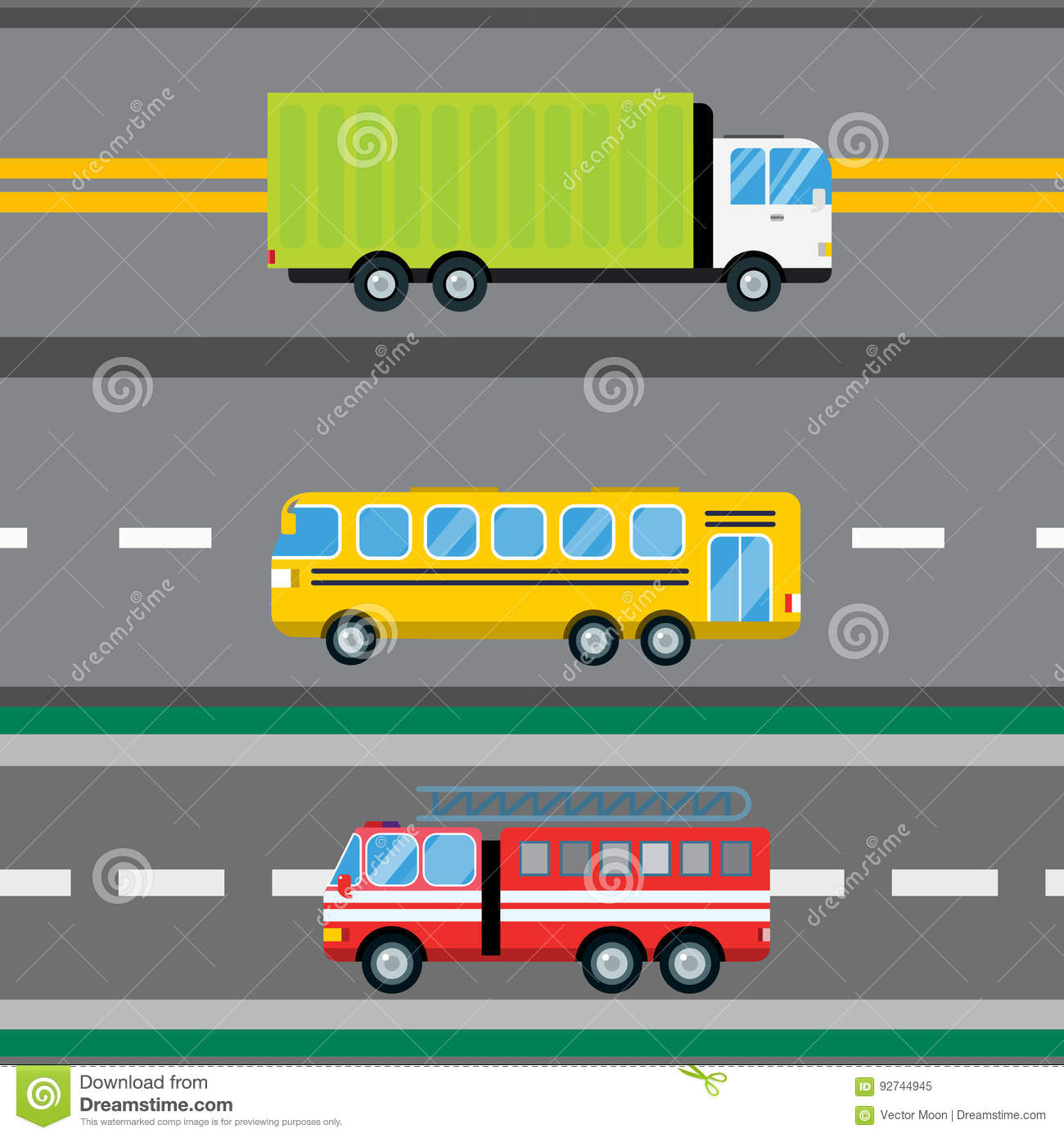 Fire truck car cartoon delivery transport cargo bus logistic seamless pattern vector illustration.