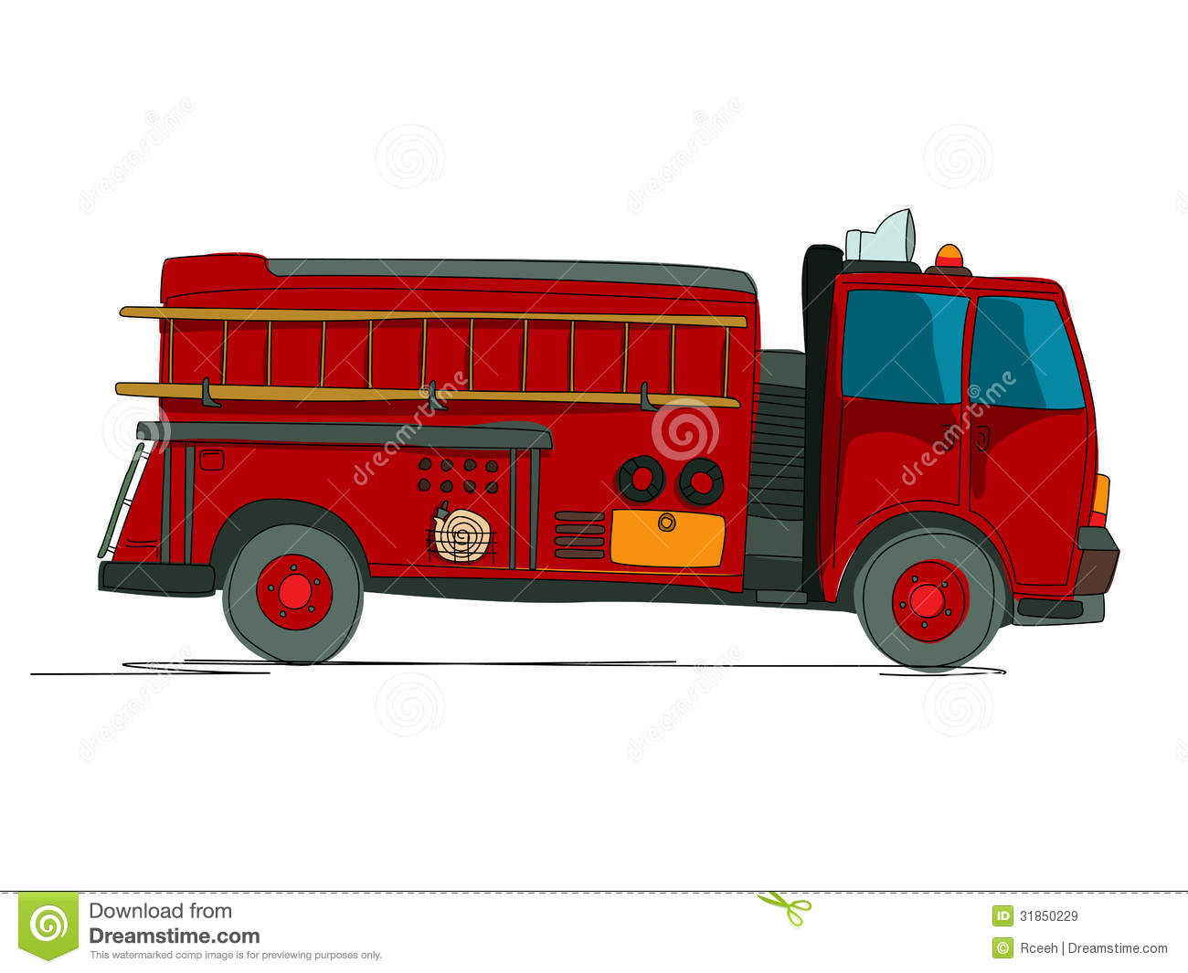 Fire truck cartoon sketch over white background.