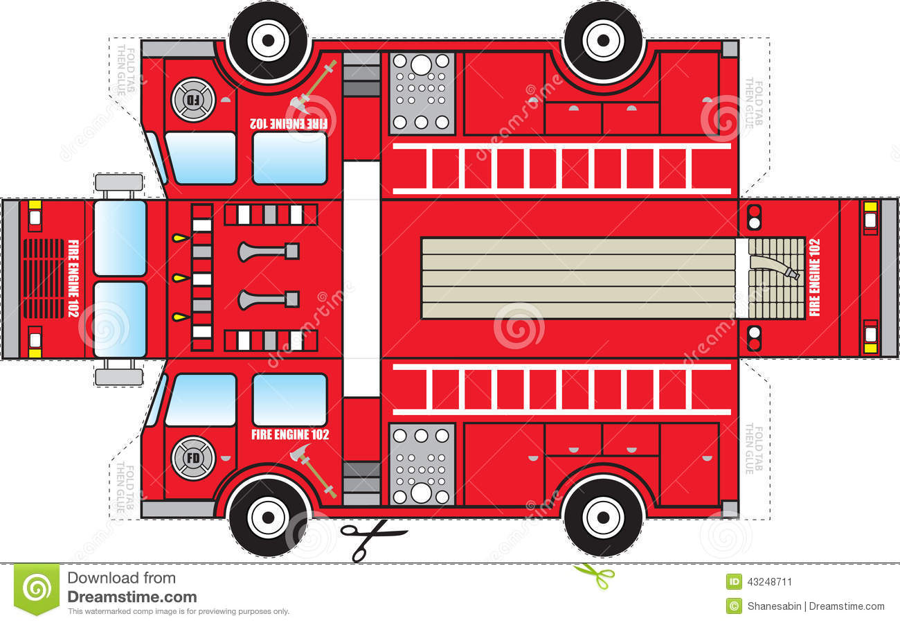 Fire Truck Cutout Stock Vector Illustration Of Child
