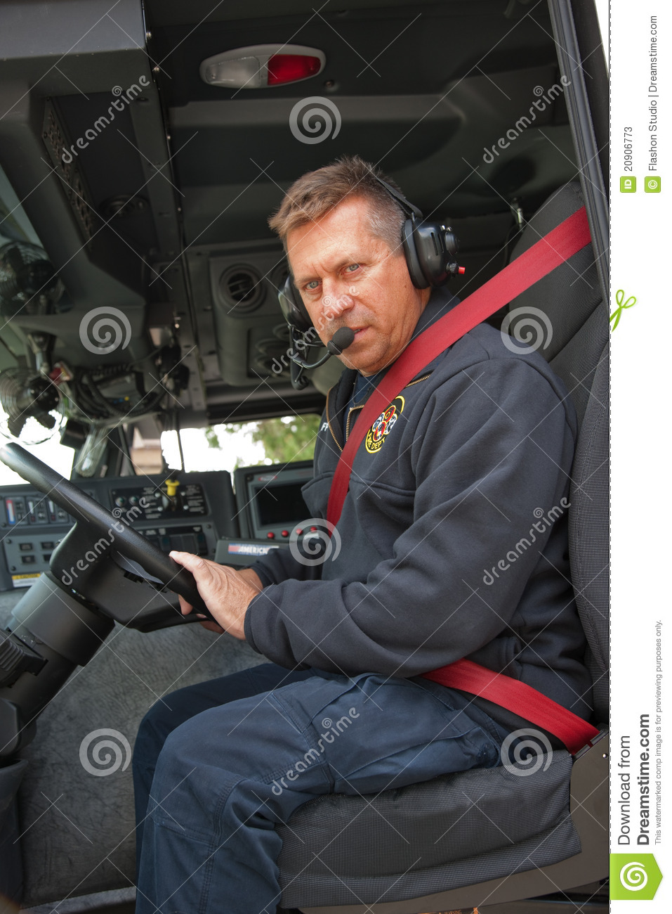 New Truck Prices >> Fire Truck Driver With Headphone On Stock Image - Image of ...