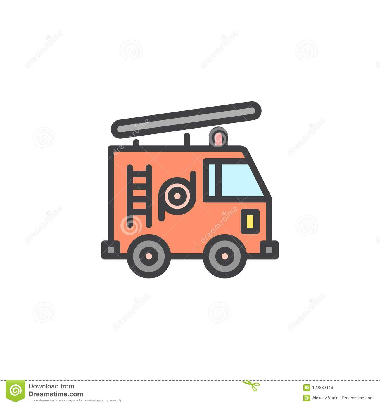 Fire Truck Filled Outline Icon Line Vector Sign Linear Colorful Pictogram Isolated On White Firefighter Symbol Logo Illustration