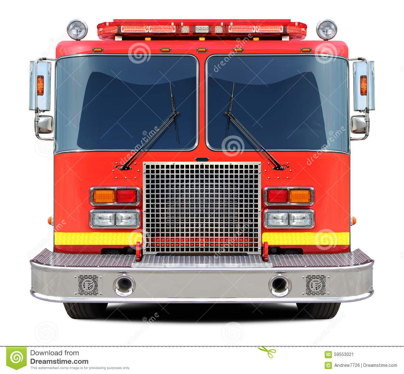 Fire truck front view.
