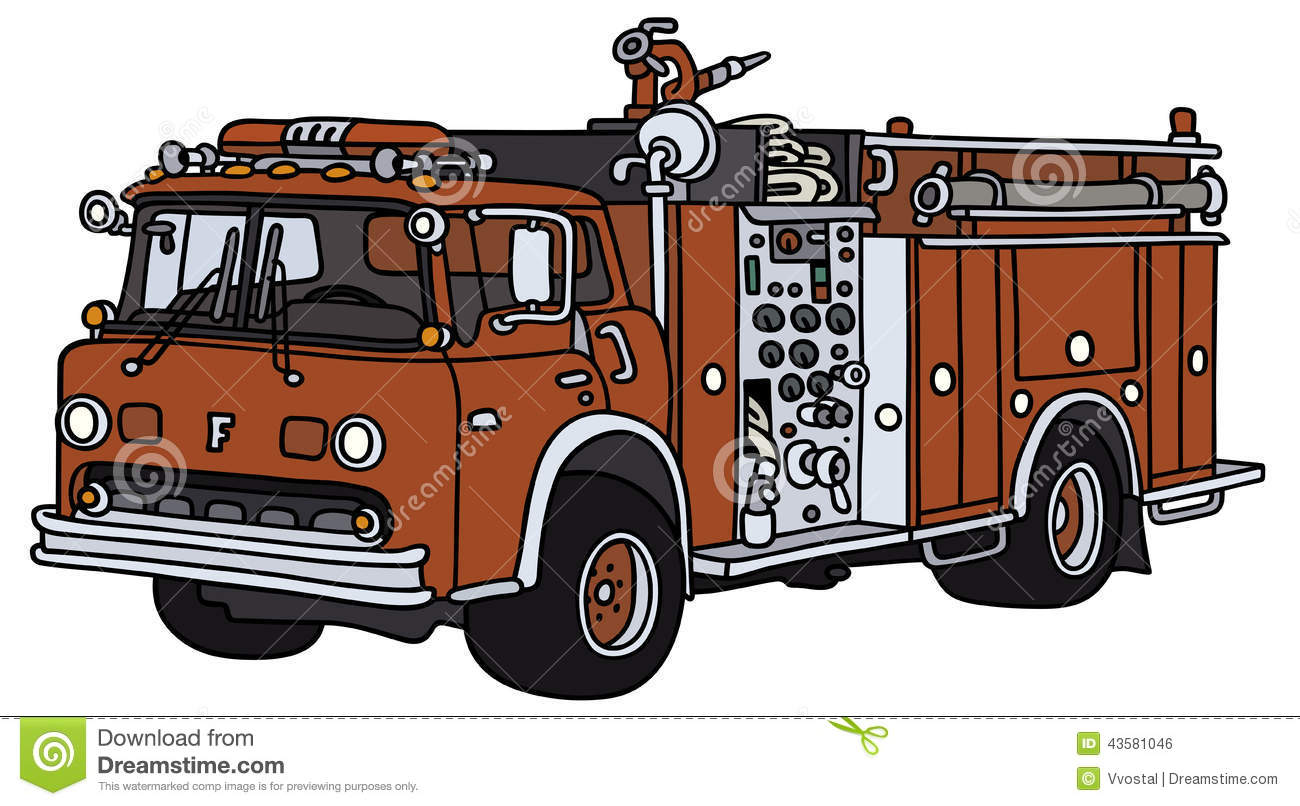 Hand drawing of a classic fire truck - not a real model.