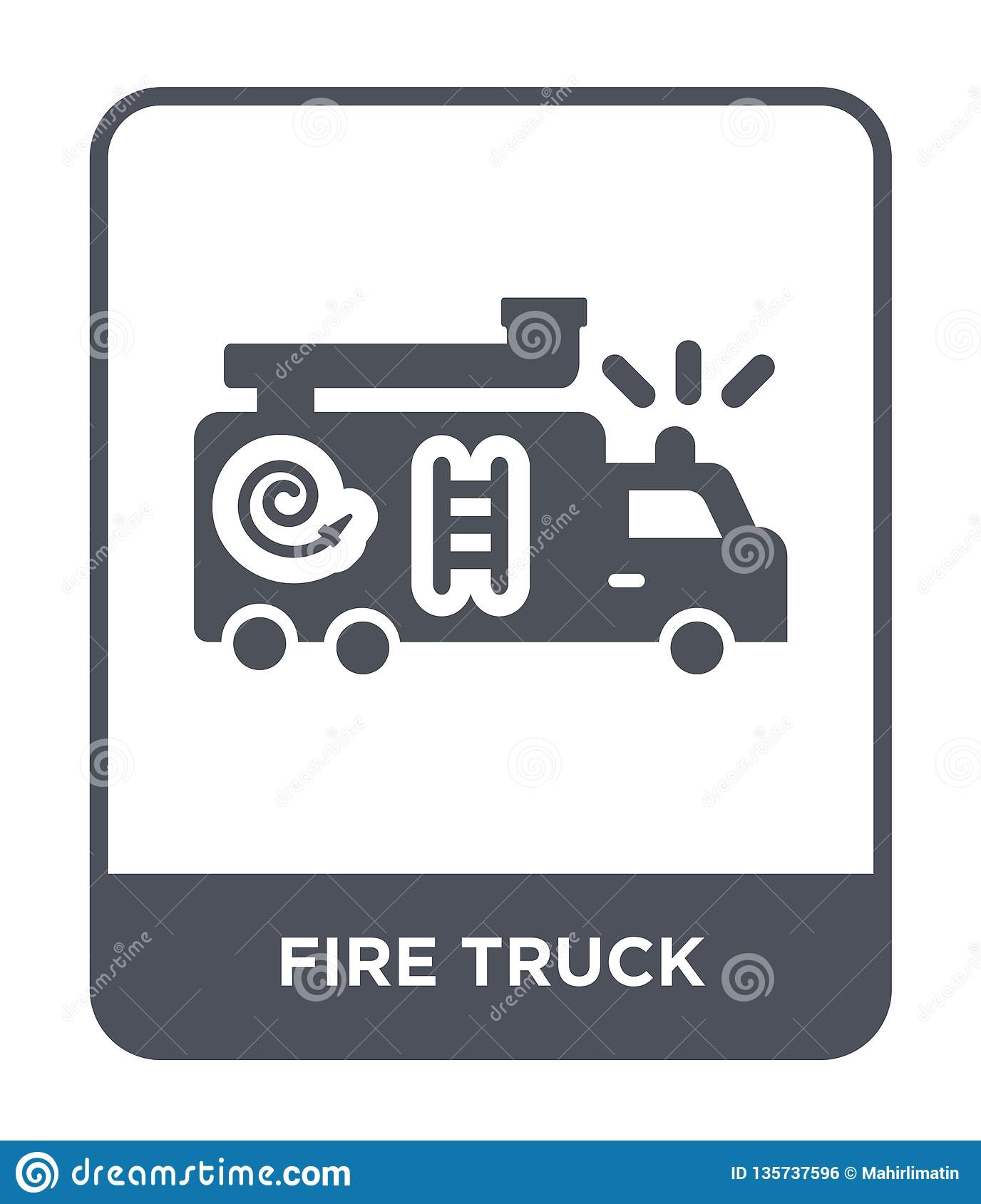 fire truck icon in trendy design style. fire truck icon isolated on white background. fire truck vector icon simple and modern
