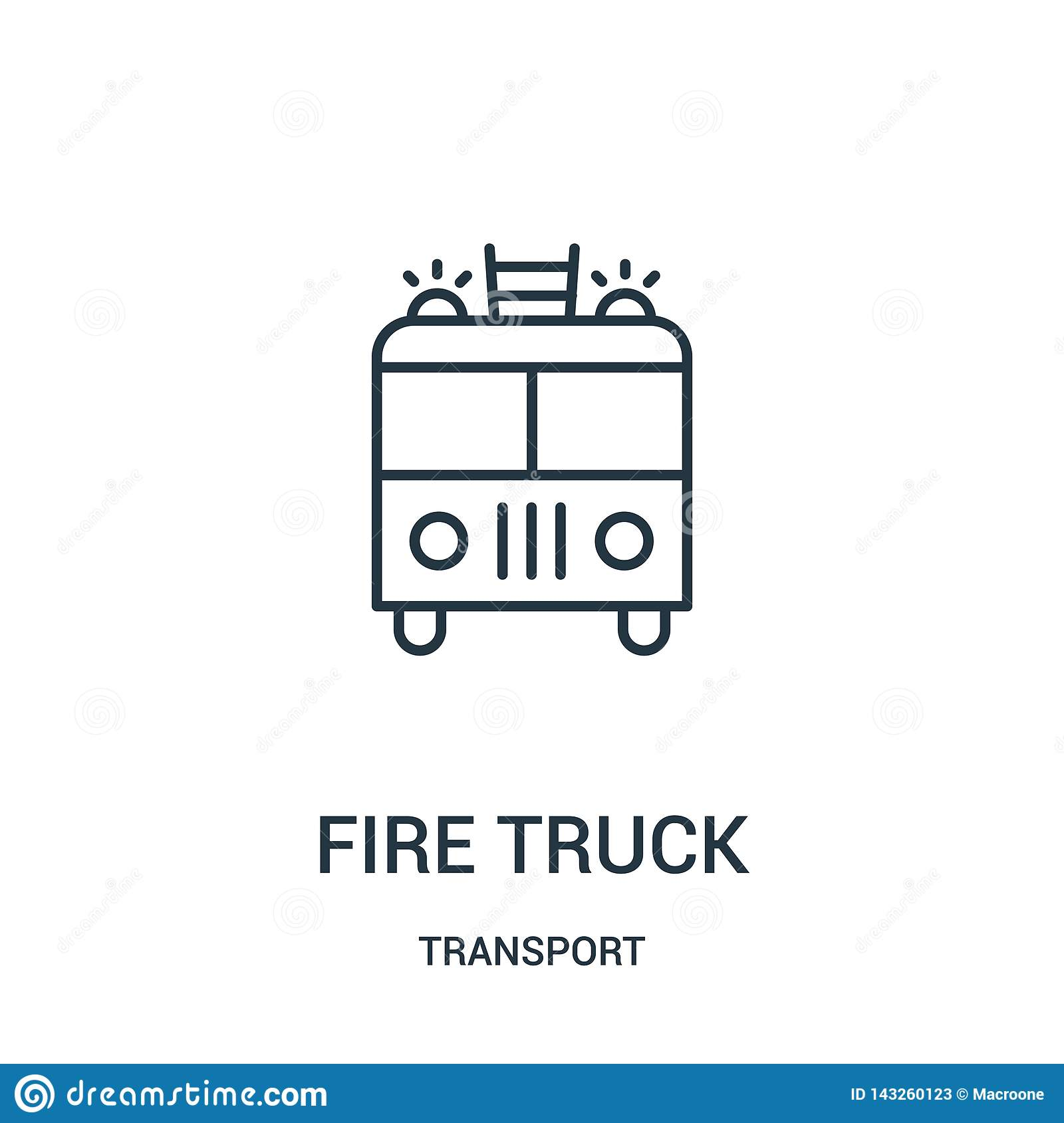 fire truck icon vector from transport collection. Thin line fire truck outline icon vector illustration