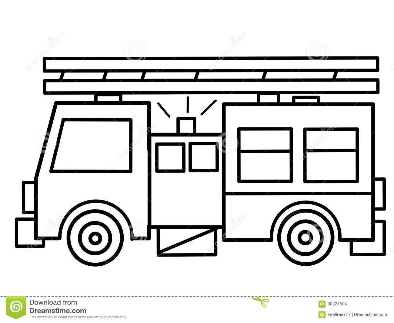 Fire Truck Kids Educational Coloring Pages Stock Illustration