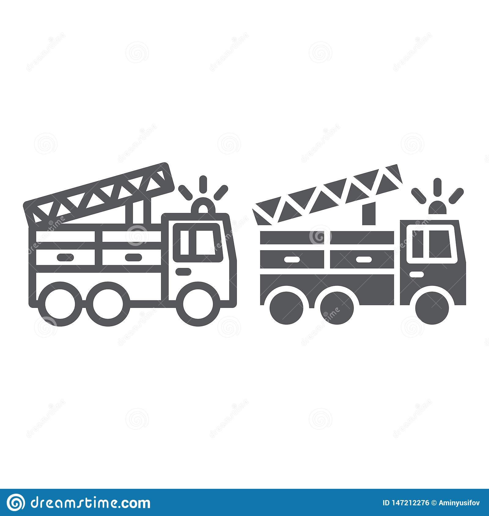 Fire truck line and glyph icon, transport and emergency, firefighter car sign, vector graphics, a linear pattern on a