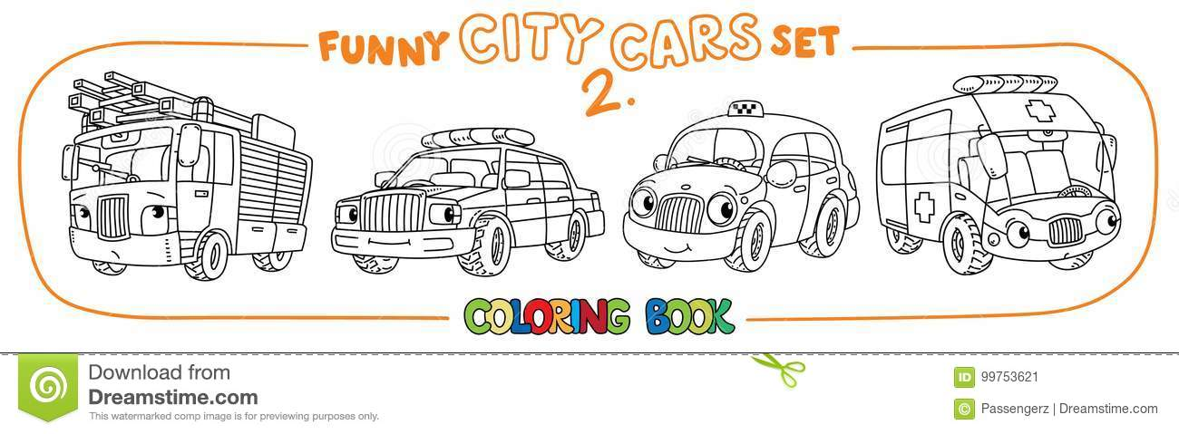 Funny Small Cars With Eyes Coloring Book Set