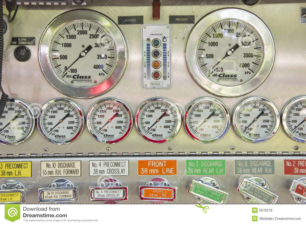 Royalty Free Stock Photos Fire Truck Pump Control Image5678278