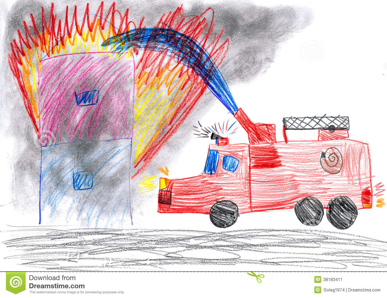 Fire Truck Rescues House Child Drawing Stock Image Image 38183411