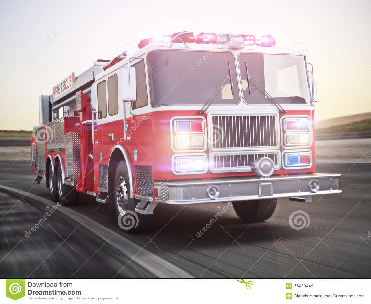 Download Fire Truck Running With Lights And Sirens On A Street With Motion  Blur. Stock