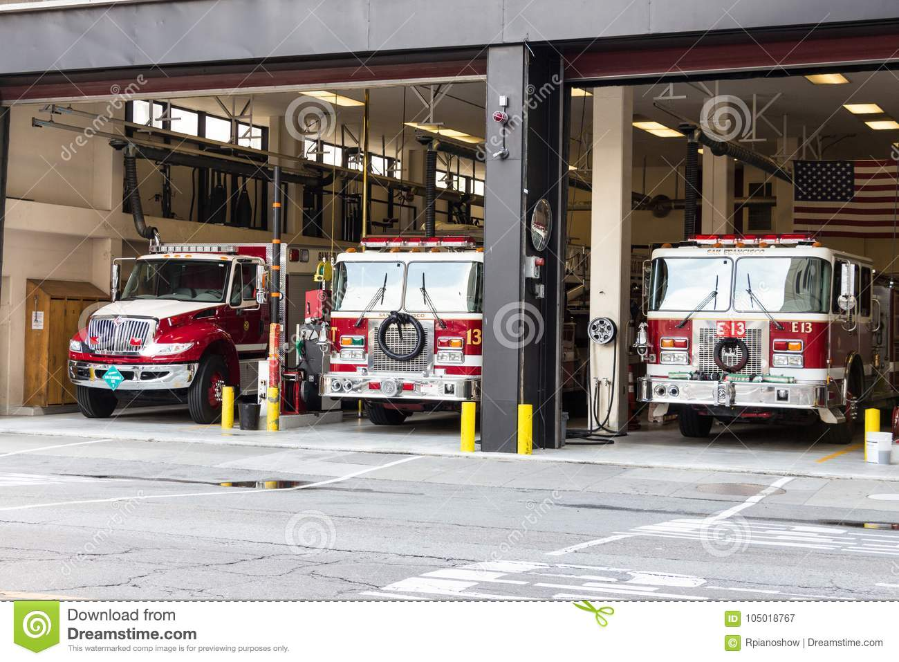 Fire truck at San Francisco firehouse.