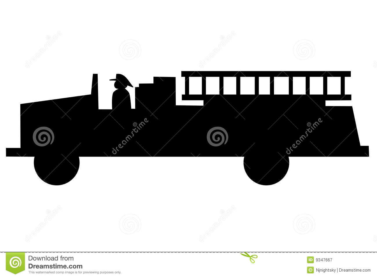 Fire Truck Silhouette Royalty Free Stock Photography - Image: 9347667