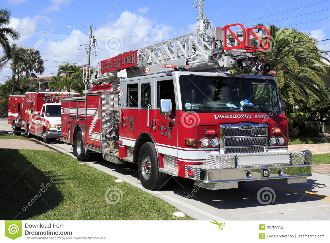 Fire Truck And Two Ambulances Stock Photography