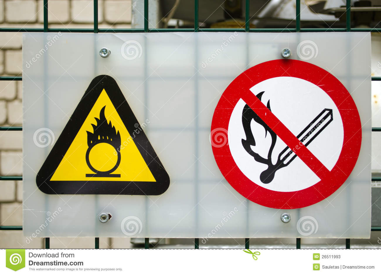 Fire warning signs compressed oxygen gas cylinders