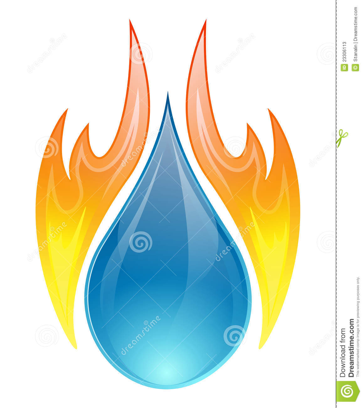 Vector illustration of two elements, water and fire on a white ...