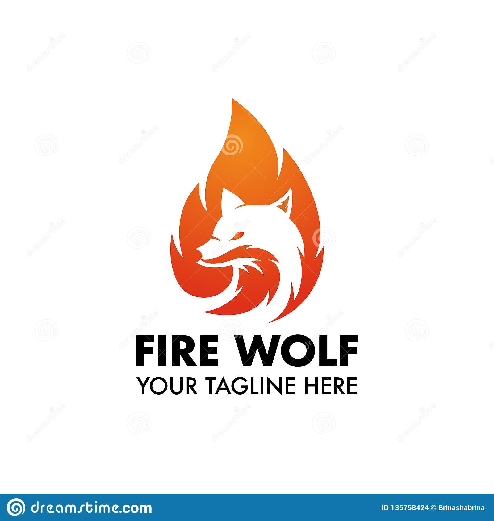 Fire Wolf Mascot or Logo For Your Design or Company