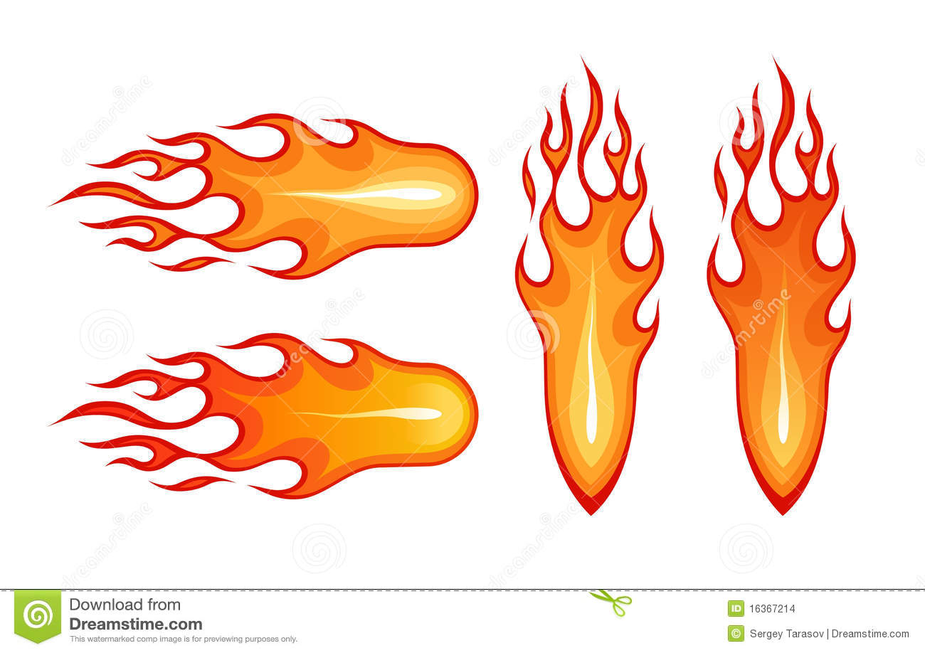Vector images of stylized cartoon-like fireball and flame.