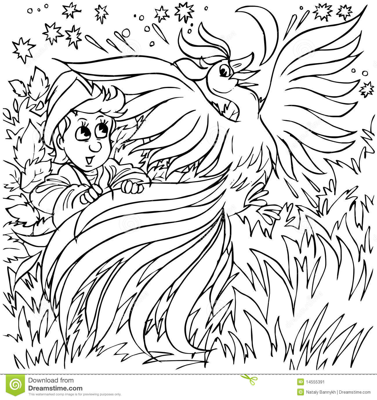 Firebird Stock Illustration Of Book Outlined