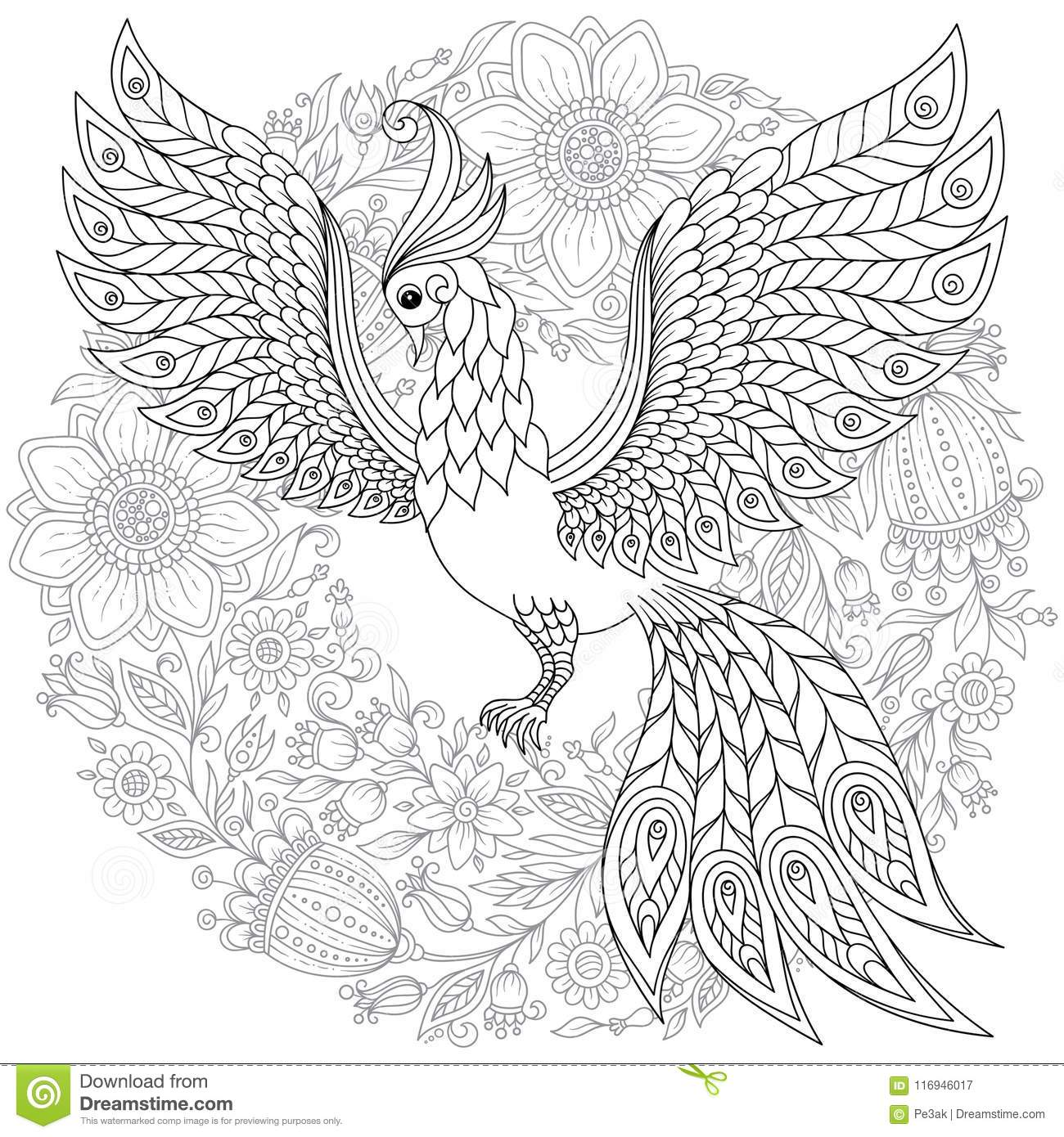 Exotic Bird In Flowers. Hand Drawn Ethnic Animal For Adult ... | 1390x1300