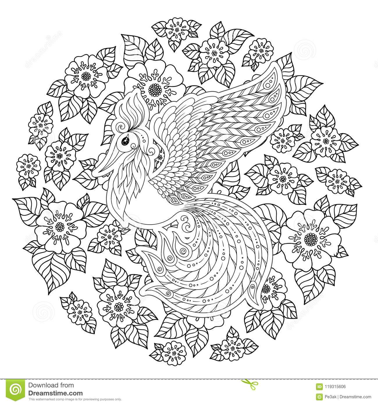 Firebird For Anti Stress Coloring Page With High Details Stock