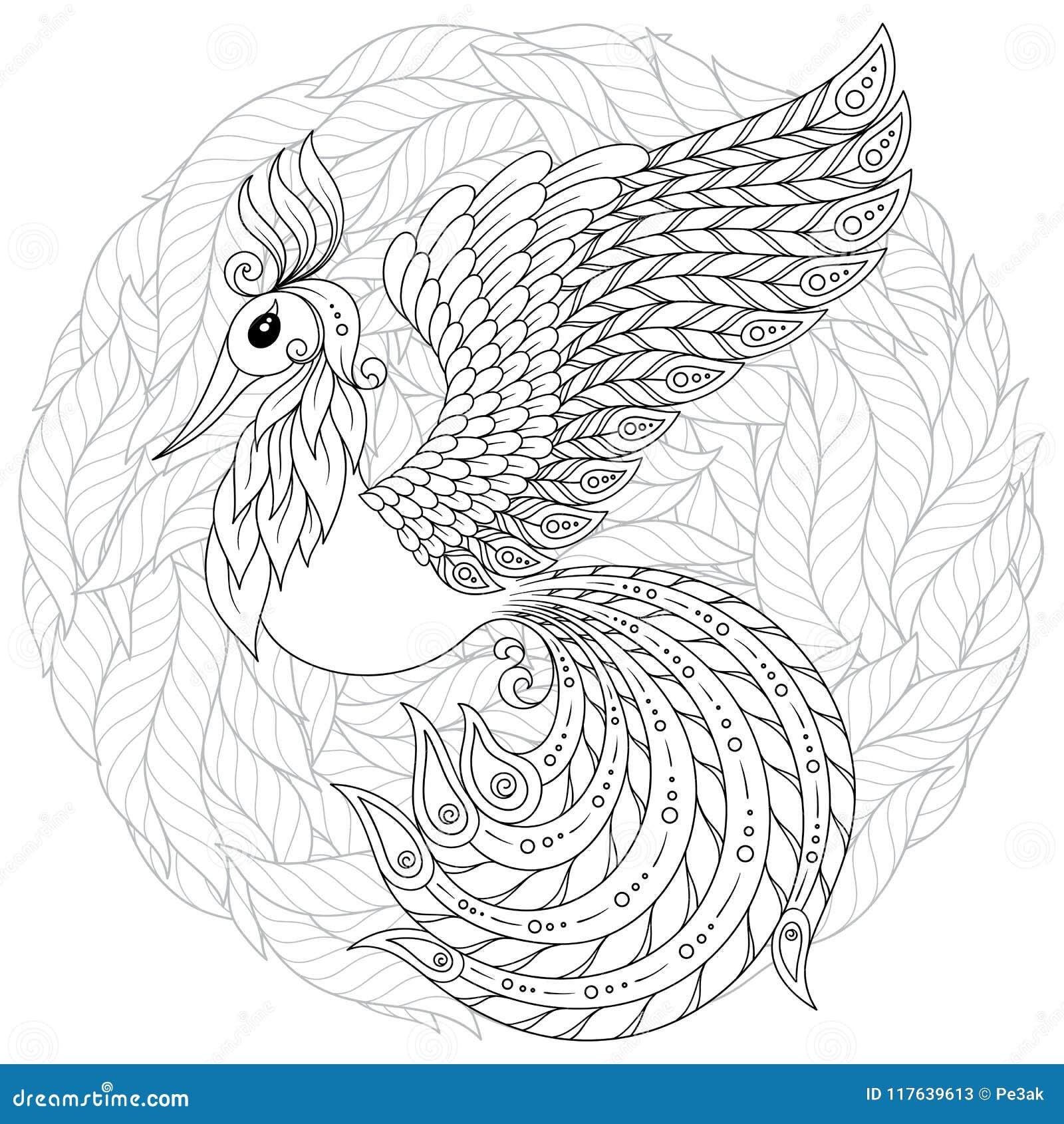 Firebird para a anti página da coloração do esforço com detalhes altos