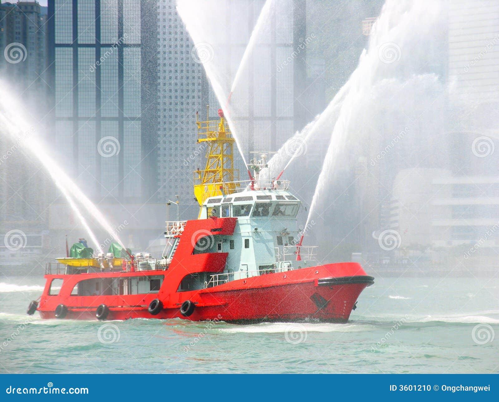 Fireboat in der Hong- Kongstadt