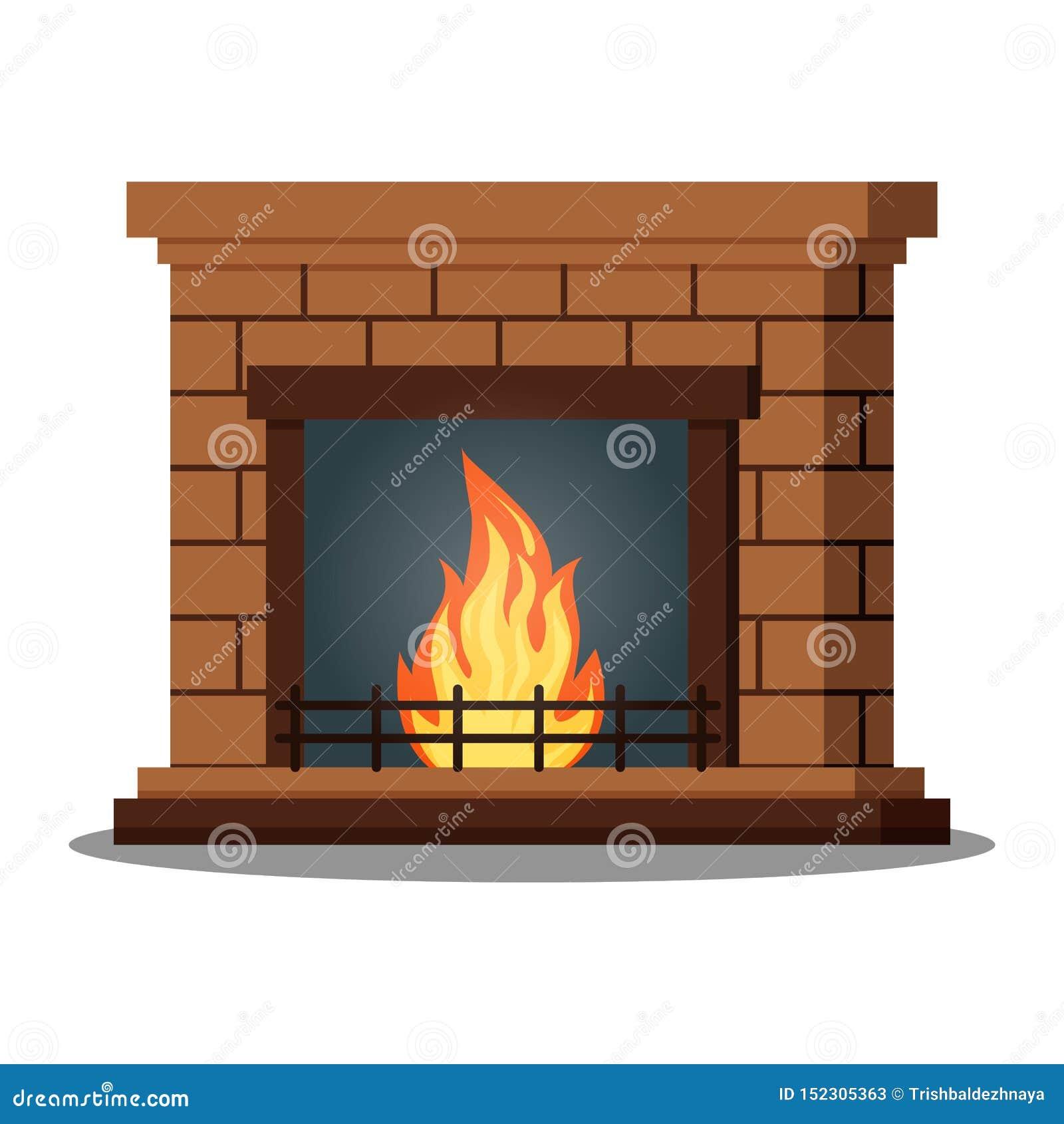 Fireburning的壁炉特写镜头被隔绝的象在白色背景的
