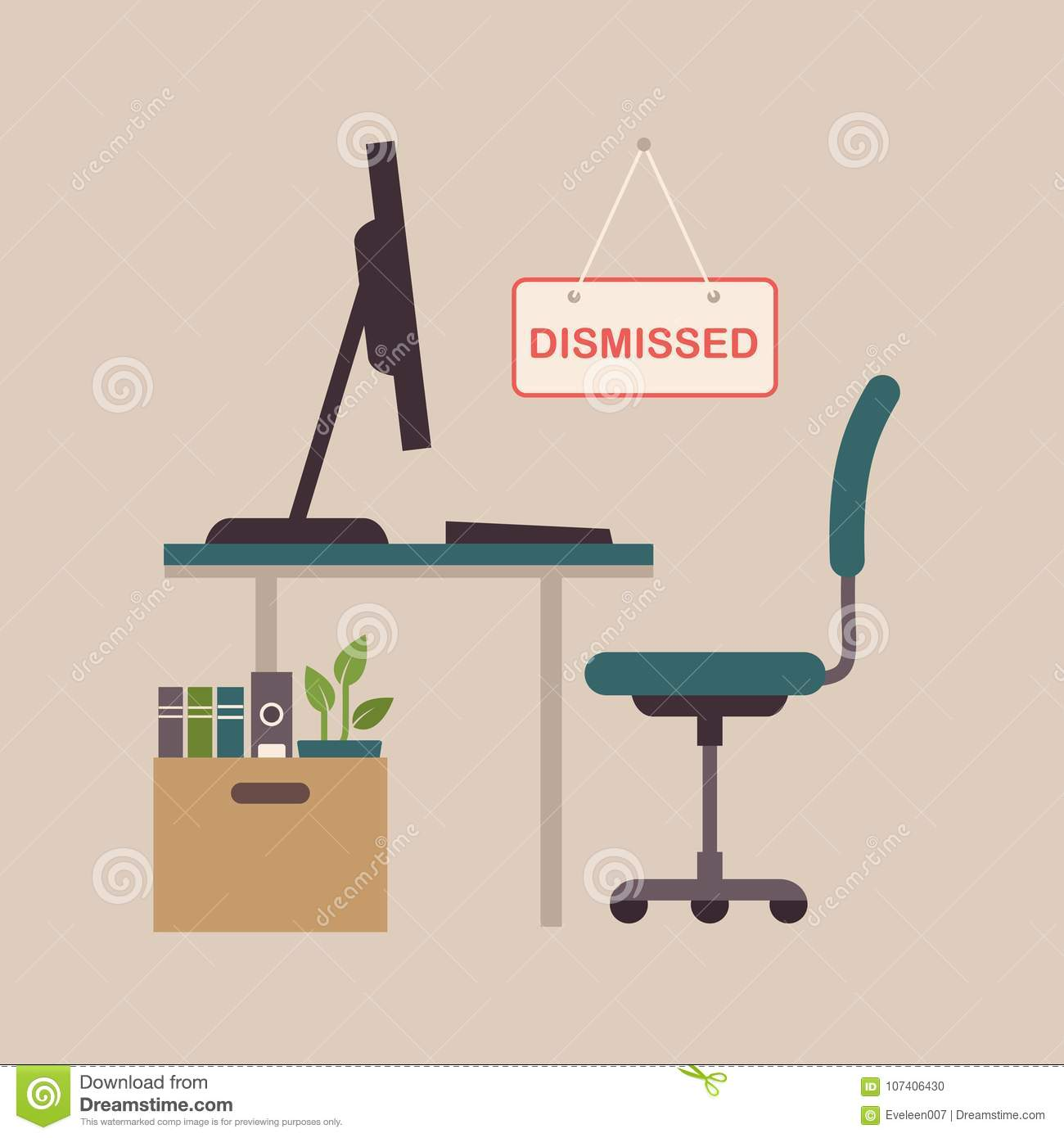 Fired Job Concept, Office Chair, Business Work Dismissal Stock