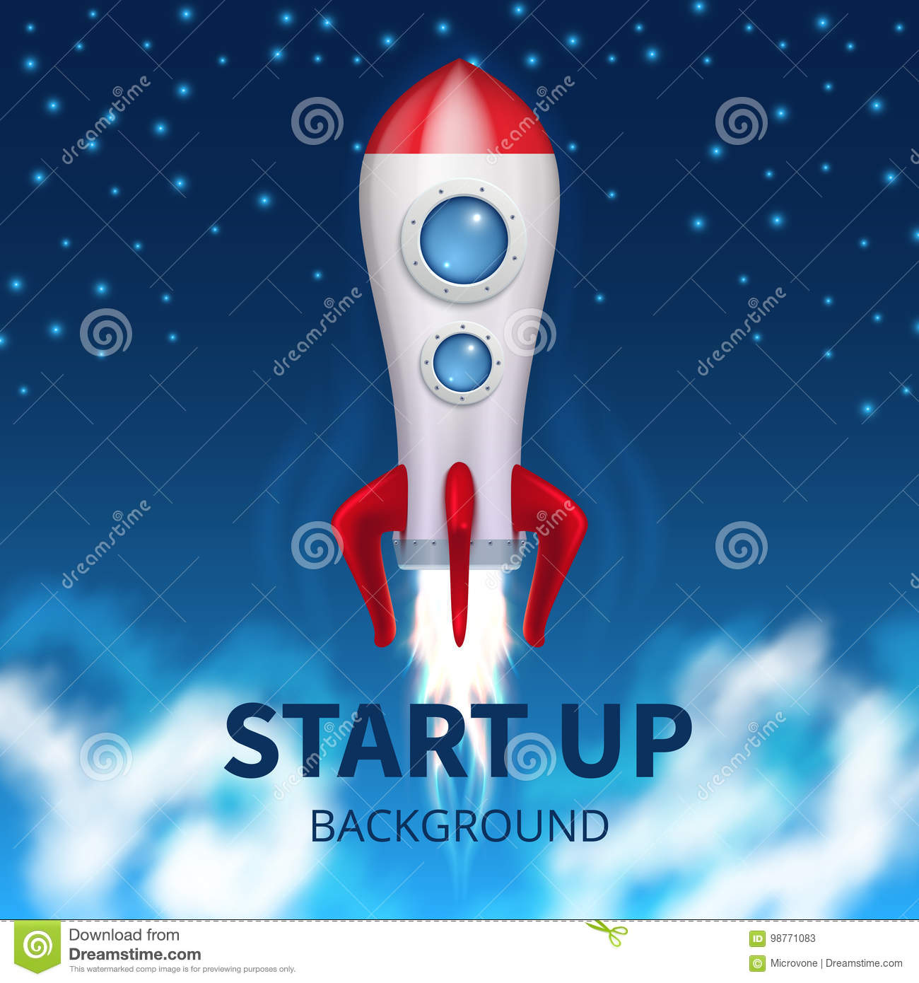 Fired up space rocket, retro booster. Shuttle launch creative startup vector background