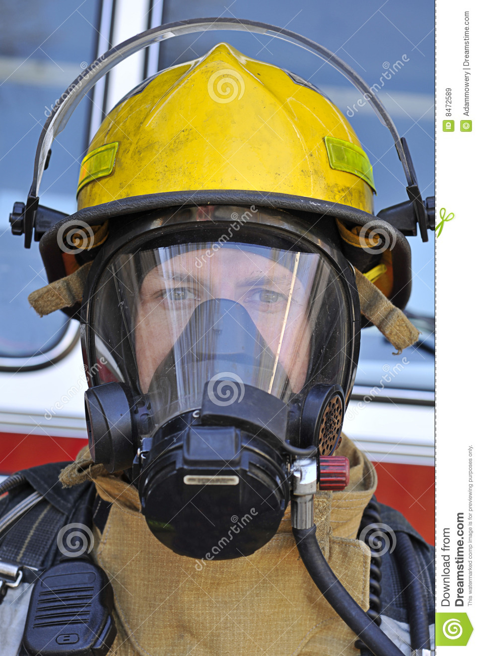 Firefighter In Air Mask Royalty Free Stock Images - Image