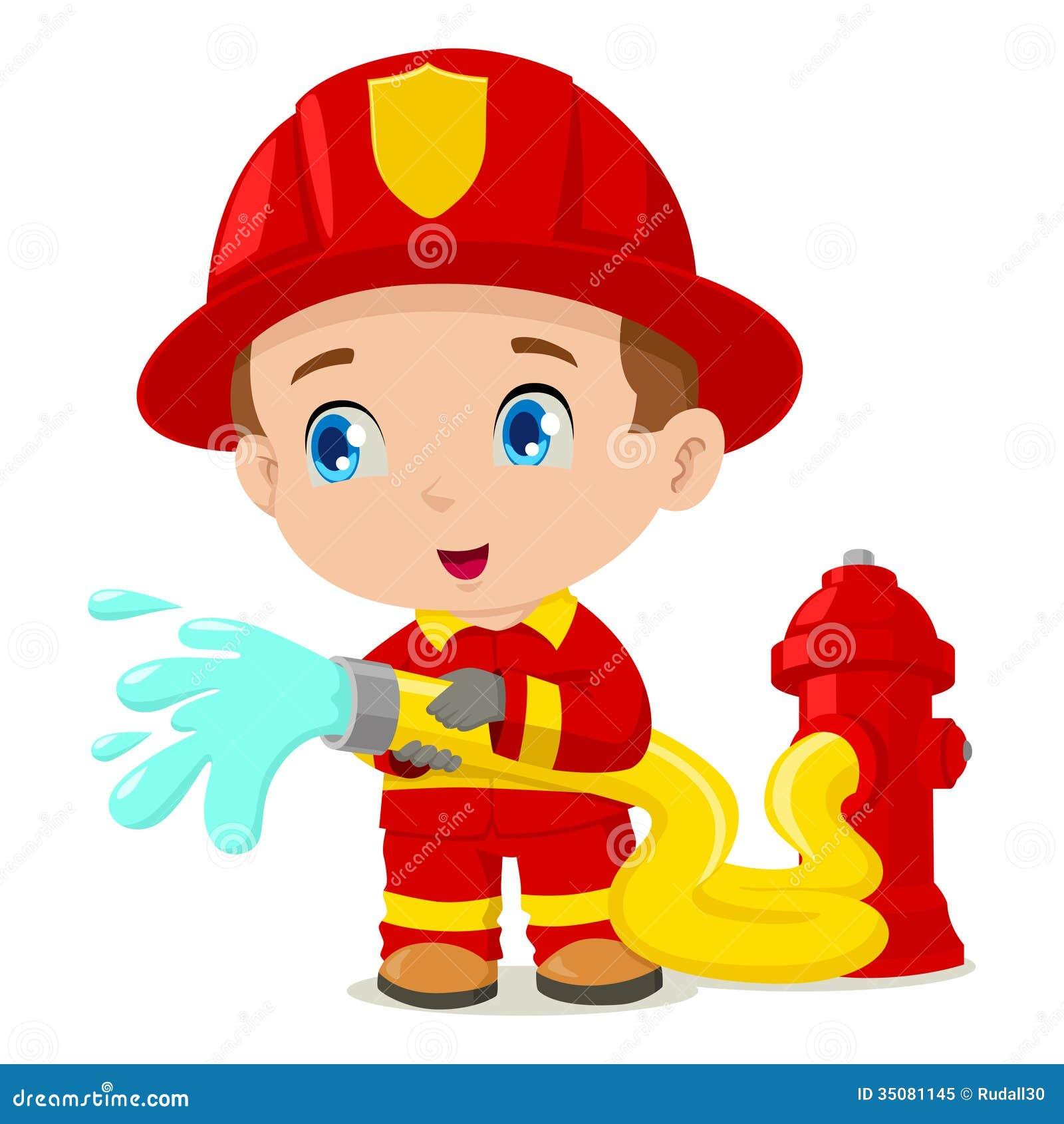 Funny Cartoon Firefighter Firefighter
