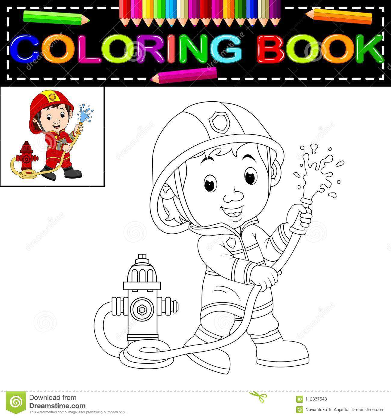 Firefighter coloring book stock vector. Illustration of cartoon ...