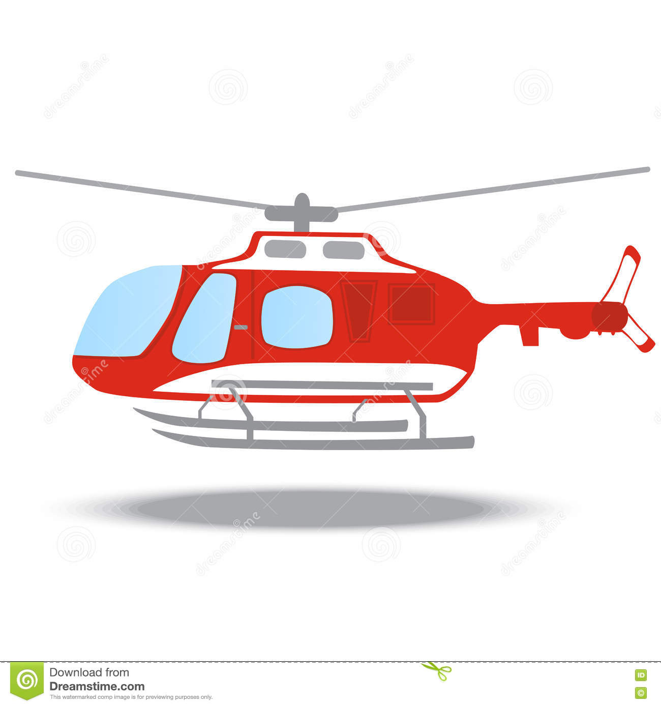 Firefighter Emergency Red Fire Helicopter Stock Illustration