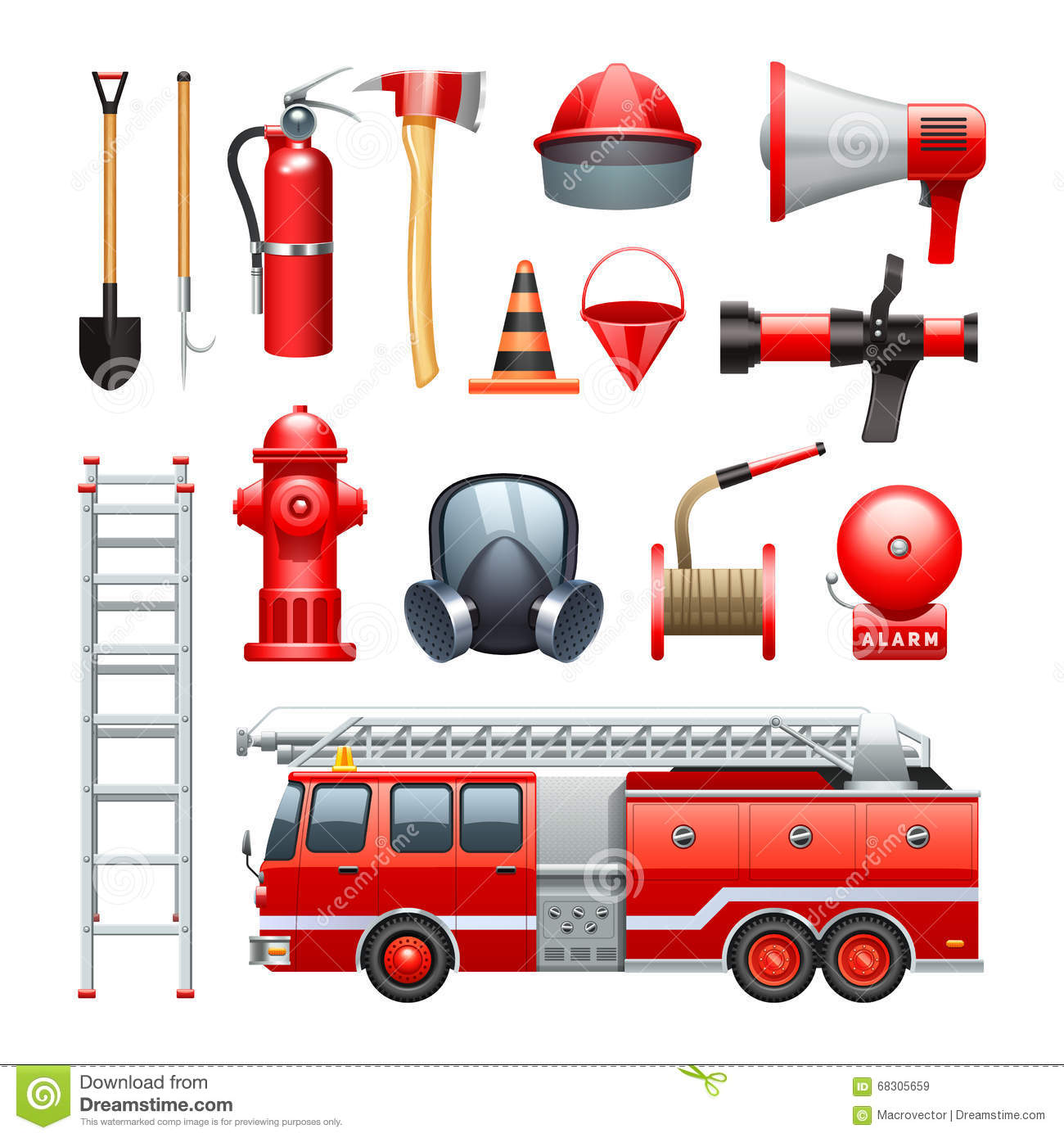 firefighter equipment and machinery icons set stock vector clipart pictures of fire engine fire engine clip art to download free
