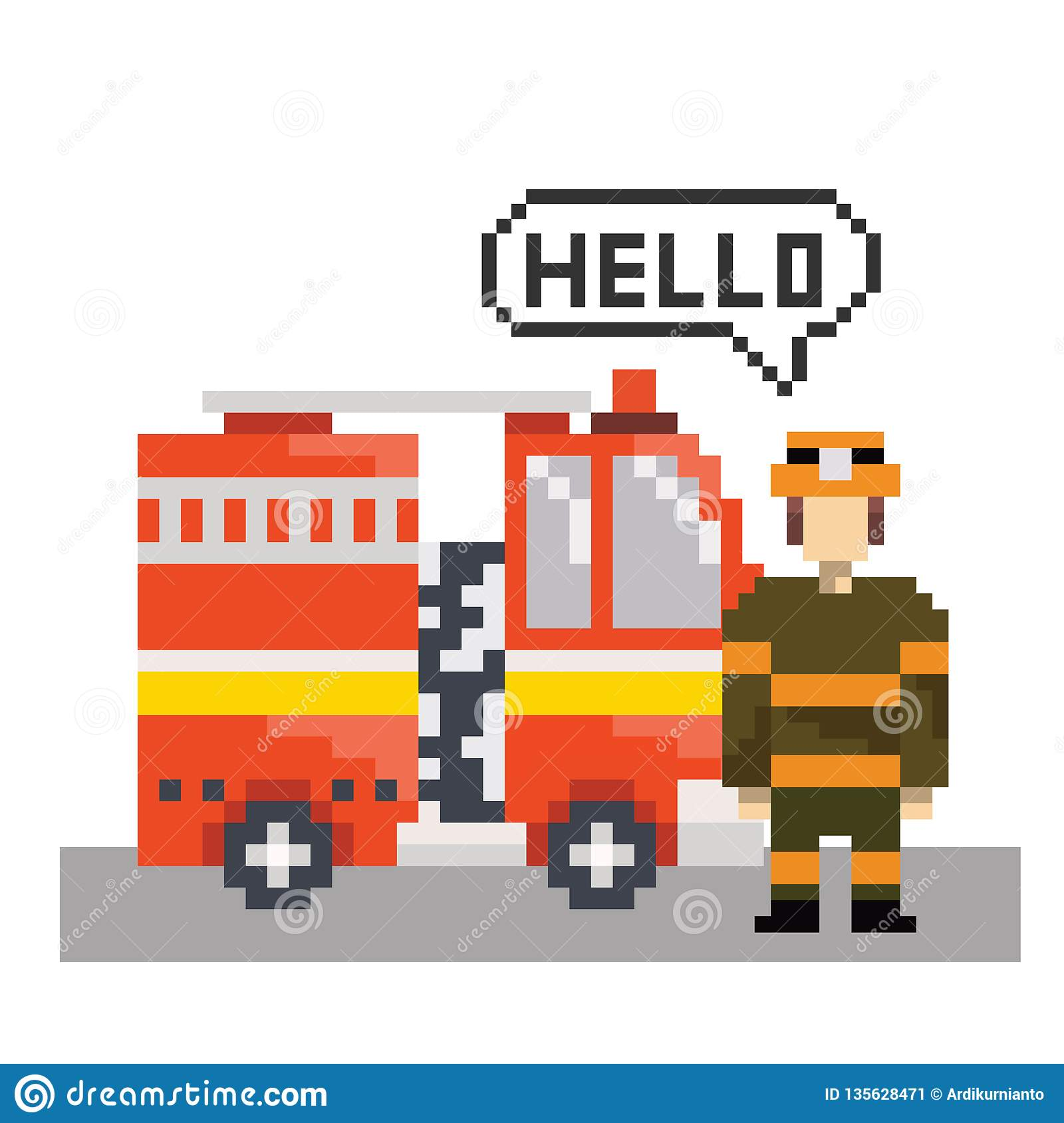 Firefighter With Fire Machine In Pixel Art Stock