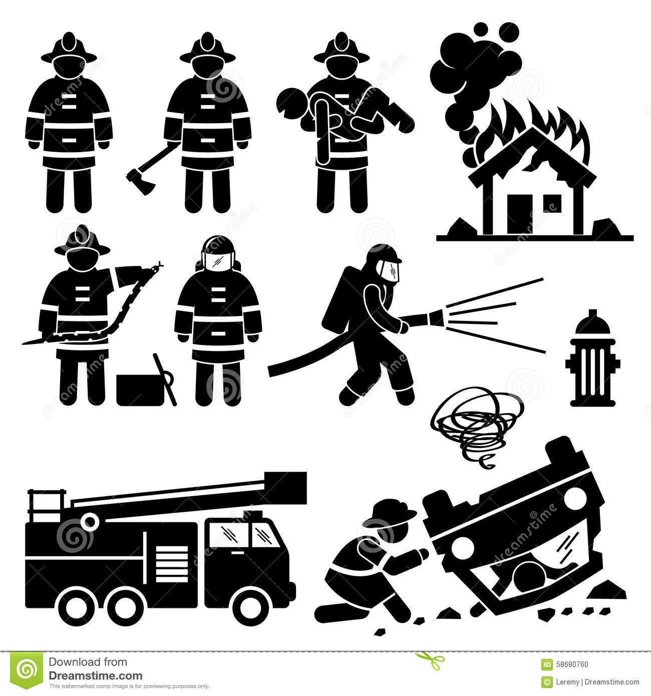 Firefighter Fireman Rescue Cliparts Stock Vector - Image: 58680760