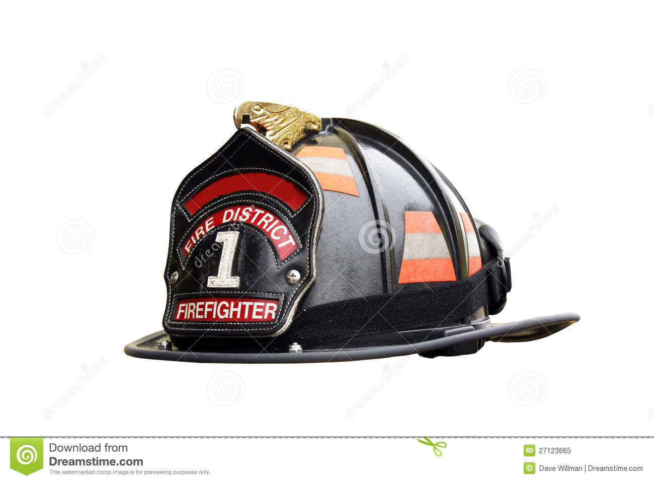 Firefighter hat and leather badge isolated over a white background.