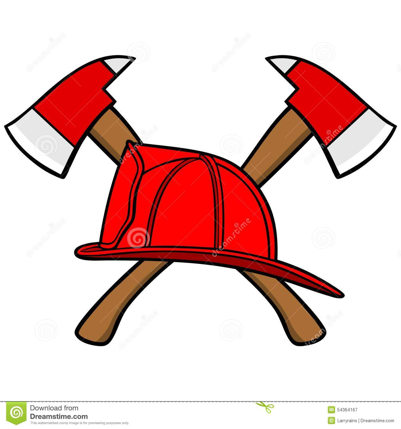 Firefighter Helmet And Axes Stock Vector - Image: 54364167