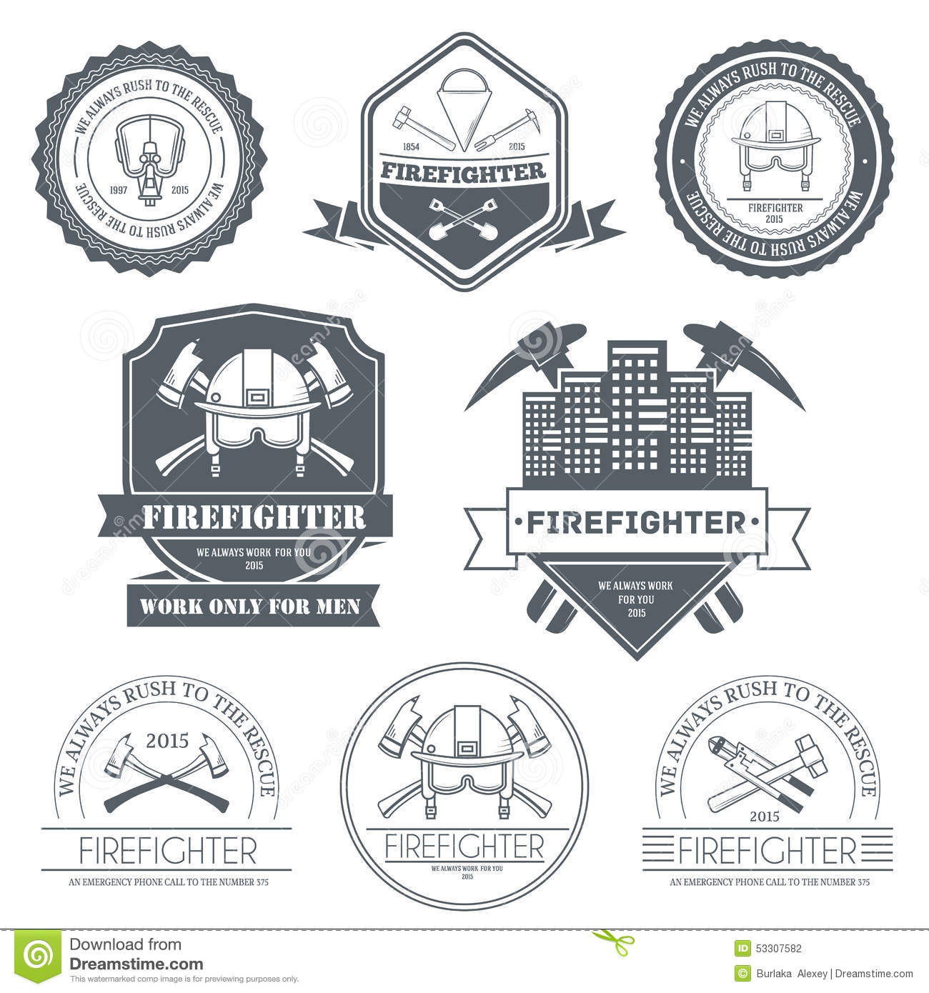Firefighter Label Template Of Emblem Element For Stock Vector ...
