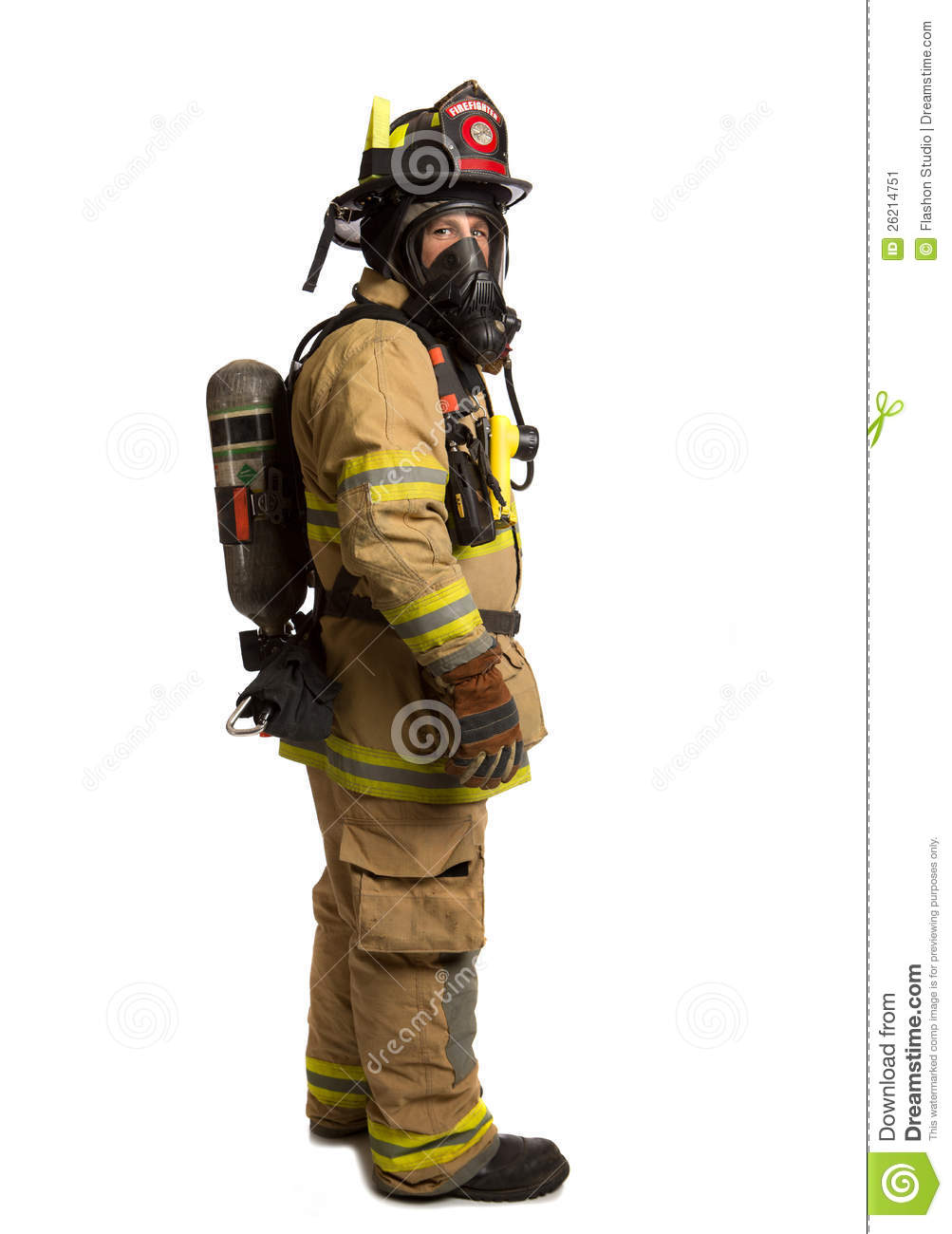 Firefighter With Mask And Airpack Protective Suit Stock Image - Image ...